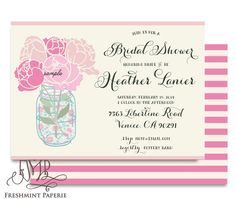 Printable invitations  bridal shower by FreshmintPaperie on Etsy, $18.50