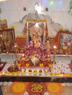 Pooja Room Decoration for Ganesh Festival | Pooja Room Designs ...