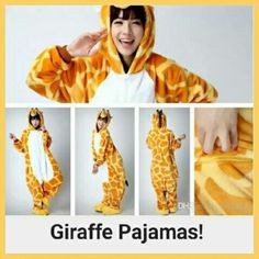 "⚡SALE⚡Adult Size Kigurumi Japanese Giraffe Pajamas Gorgeous, soft authentic full body Giraffe pajamas OR costume made in Japan and shipped to the U.S. Hand sewn and gorgeous! Very funny and cute. The large fits up to 200lbs and is flattering. You can wear clothes underneath. There are cute little pockets on the side and this suit can be washed in cold water.  Worn once for an animal themed Baby Shower then dry-cleaned.  Has a few faint ""orange juice"" stains, but they blend into the outfit…"