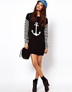 Image 4 of ASOS Anchor Sweater Dress With Striped Sleeves