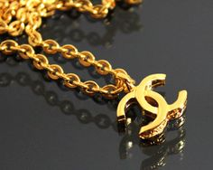 CHANEL Vintage Gold Logo Necklace  1980s 1982 by fashionsquid