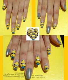 Minions #minion #nailart #nails #despicableme2 #yellownails #nails #mani #minionnails