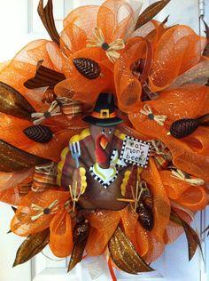 Thanksgiving mesh wreath | Deco Mesh Metal Turkey Wreath