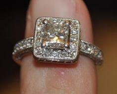 Beautiful Radiant Diamond Ring Radiant Engagement Rings, Antique Style Engagement Rings, Diamond Ring Settings, Crystals, Antiques, Beautiful, Vintage, Jewelry, Antiquities