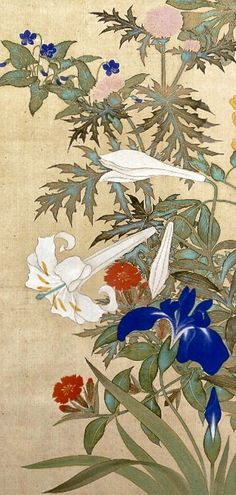 Detail. 鈴木其一 Flowers and grasses of four seasons. One of a pair of Japanese hanging-scrolls. Flowers of spring and summer in right scroll: aster; orchid, violet, thistle and lily. Suzuki Kiitsu. Rinpa School. Edo Period. Japan.