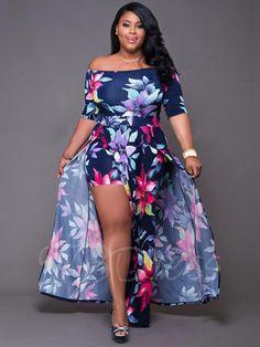 Akmipoem Women's Off Shoulder Floral Print High Split Beach Maxi Dress Jumpsuit Romper,Dark Blue,Small Plus Size Summer Dresses, Plus Size Outfits, Spring Dresses, Boho Romper, Maxi Robes, Party Wear Dresses, Party Dress, Dresses Dresses, Floral Maxi Dress
