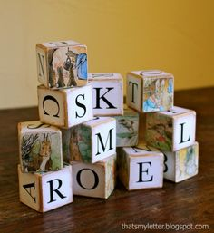 How to make wooden Alphabet Blocks with picture books and mod podge