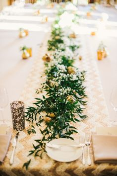 leafy greens and golden zig zags Photography by Ken Kienow Wedding Photography / kenkienow.com, Floral Design   Coordination by The Cass House / casshouseinn.com/weddings