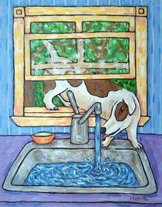 Jack Russell kitchen faucet dog art abstract folk pop ART 13x19 GLOSSY PRINT