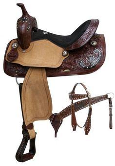 Burgandy Floral Tooled Barrel Style Saddle Set