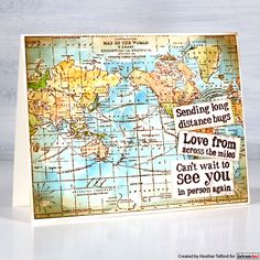 Map Background, Cardmaking And Papercraft, Travel Cards, Masculine Cards, Distress Ink, Long Distance, Vintage Photos, Vintage World Maps, Card Making