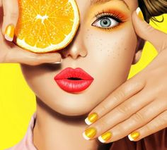 Beauty Model Girl takes Juicy Oranges. Beautiful Joyful teen girl with freckles, funny red hairstyle, yellow makeup and nails. Professional make up. Fruit Photography, Beauty Photography, Photography Poses, Fruit Shoot, Professionelles Make Up, Tableau Pop Art, Yellow Makeup, Freckles Girl, Fake Freckles
