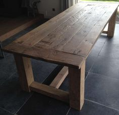Products I Love – tafel Rustic Kitchen Tables, Dining Room Table, Outdoor Tables, Outdoor Dining, Island With Seating, Deck Decorating, Wooden House, Farmhouse Furniture, Old Wood