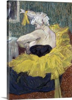 The Clowness Cha-U-Kao Fastening Her Bodice Henri de Toulouse-Lautrec (French, Oil on cardboard. Toulouse-Lautrec here offers a more private view of his character,. Henri De Toulouse Lautrec, Grand Palais Paris, Clown Paintings, Oil Paintings, Infinite Art, Poster Prints, Art Prints, Illustration, Art Google