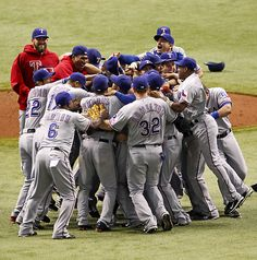 2011 Texas Rangers Celebrating Win Over Tampa Bay ALDS Champs