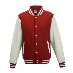Just Hoods JH043 Fire Red and Arctic White Varsity Jacket - £19.35