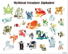 Printable Mythical Creature Alphabet Poster -  Sparrow Paper Designs