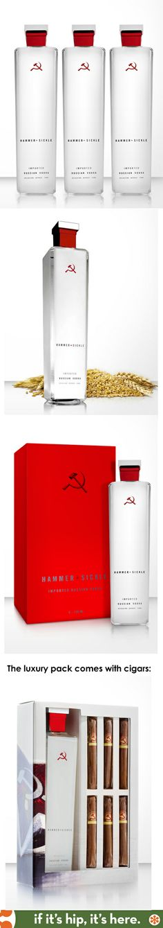 Hammer +Sickle premium Russian Vodka has slightly changed their bottle and packaging since it was featured on the dieline in 2010.