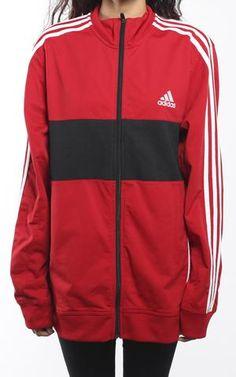 Adidas polka dot firebird traccia giacca della donna in bianco e nero.