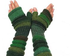 Nordic Handknitted accessories green fingerless for Women Gloves Winter fashion mittens Gift idea for girlfriend hand knit wool warmers