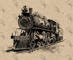 Vintage Retro drawing Train Locomotive Steam Instant Download Digital printable Black and White graphic scrapbooking burlap totes towels etc by UnoPrint on Etsy