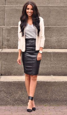 #sexy #outfit beige jacket and pencil skirt