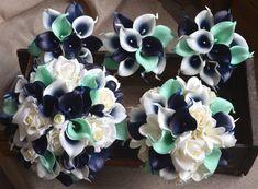 Diy Wedding Bouquet, Bridesmaid Bouquet, Bouquet Wrap, Bridal Bouquets, Navy Mint Wedding, Orange Weddings, Red Wedding, Perfect Wedding, Rustic Wedding