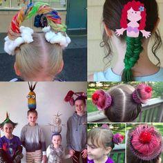 Crazy Hair Day For Teachers, Crazy Hair Day Girls, Crazy Hair For Kids, Crazy Hair Day At School, Days For Girls, Crazy Hat Day, Crazy Hats, Girl Short Hair, Whacky Hair Day