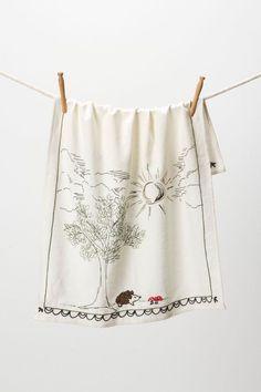 Anthropologie Embroidered Hedgehog Mushroom Dish Tea Kitchen Towel Dishtowel #Anthropologie