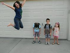 First day of school. However in our pic we all would be jumping..both my kids are excited for school this year..