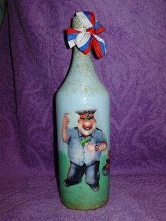 Кукуня и Кукуся: Декупаж бутылки.