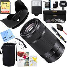 Amazon.com : Sony 55-210mm Zoom E-Mount Lens Black (SEL55210/B) + 64GB Ultimate Filter & Flash Photography Bundle : Camera & Photo