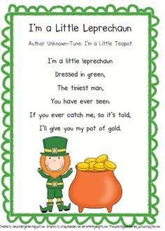 st patricks day leprechaun poem to I'm a little teapot tune St Patricks Day Songs, St. Patricks Day, St Patricks Day Crafts For Kids, Saint Patricks, March Crafts, St Patrick's Day Crafts, Holiday Crafts, March Themes, Dates