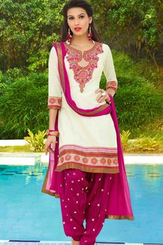 White & Magenta Cotton Cambric Suit With Chiffon Dupatta