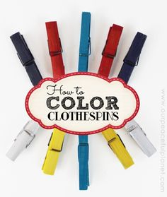 How To Color Clothespins! If you like using clothespins in your crafting here's a fast way to color a lot of them at once! We've got detailed instructions for you along with examples. Wreath Crafts, Tree Crafts, Diy Wreath, Clothespin Crafts, Door Wreaths, Flag Wreath, Clothespin Dolls, Wreath Ideas, Burlap Wreath
