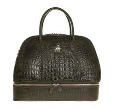 Duffle Leather Bag Brown Printed Alligator – Treccani Milano