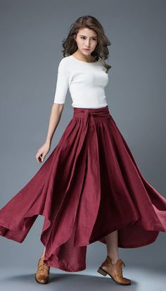 Wine Red Elegant Women Skirt Flare Skirt Girl's Skirt by YL1dress