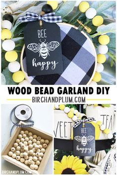 Learn to make your own wood bead garland! Easy tutorial on how to paint wooden beads. Adapt to Farmhouse, Shabby Chic, French Country, or Boho style. Wood Bead Garland, Beaded Garland, Christmas Bead Garland, Beaded Chandelier, Bee Crafts, Wood Crafts, Dyi, Diy Girlande, Wood Tags