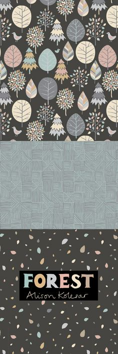 Forest pattern collection by Alison Kolesar