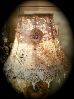 Image detail for -shabby chic crochet lampshade doily lamp shade gorgeous elegance from . Shabby Chic Lighting, Shabby Chic Lamp Shades, Vintage Lighting, Lampe Crochet, Crochet Lampshade, Shabby Chic Crafts, Shabby Chic Homes, Shabby Chic Decor, Doily Lamp