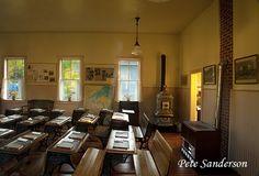 Interior of Hei Corners School, a restored one-room school in Plover's Heritage Park. Wisconsin