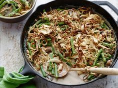 Best Ever Green Bean Casserole : This staple of Thanksgiving dinners and family suppers has never tasted so good. Alton mixes fresh green beans with homemade, creamy mushroom sauce before topping the mixture with crispy baked onions.