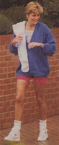 Princess Diana liked to get her workout on. Wow! William looks just like her!
