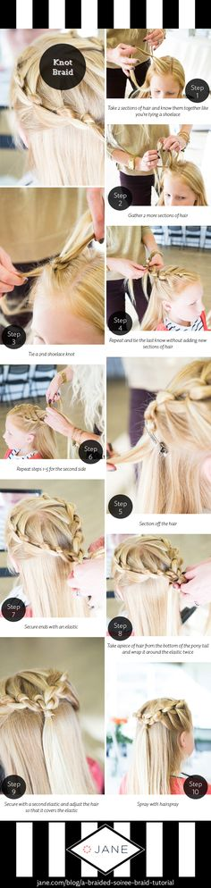 No time for a fancy braid? Try this Knotted Braid! It's easy and fast and will make you look like a hairdo-pro. Perfect for kids too! Check out the tutorial and video tutorial on the Very Jane Blog!