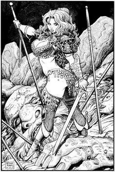 Red Sonja by Arthur Adams Fantasy Arte Art Red Sonja, Comic Book Artists, Comic Artist, Comic Books Art, Bd Comics, Comics Girls, Illustrations, Illustration Art, Character Art