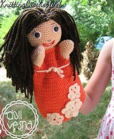 Doll Vesna hand dollhand puppet crochet doll by knittingcrochetweb