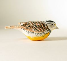 Western Meadowlark - Hand Formed Pottery Bird $230 by WolfArtGlass on #etsy #agteam