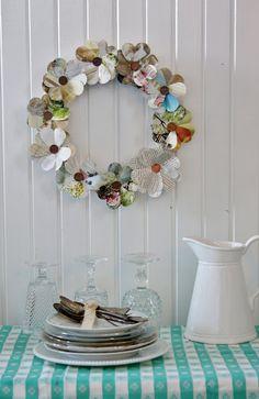 """""""Darling paper wreath, love the flowers! DIY!"""""""
