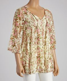 Look at this #zulilyfind! Green & Pink Floral Tunic - Women #zulilyfinds
