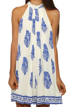 Leaf Print Round Neck Sleeveless Dress CADETBLUE: Print Dresses | ZAFUL